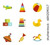 kid toys icons set  flat style | Shutterstock .eps vector #684209017