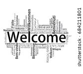 welcome tag cloud in different...   Shutterstock .eps vector #684211801