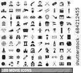 100 movie icons set  simple... | Shutterstock .eps vector #684212455