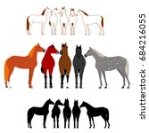 set of horse group | Shutterstock .eps vector #684216055