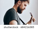 man with a beard on a white... | Shutterstock . vector #684216385