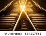 railway track change concept or ...   Shutterstock . vector #684217561