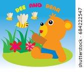 flat vector design  bear ... | Shutterstock .eps vector #684222547