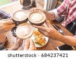 latte coffee art and people...   Shutterstock . vector #684237421