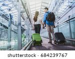 asian couple traveler with... | Shutterstock . vector #684239767
