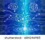digital brain genius  with... | Shutterstock .eps vector #684246985