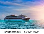 cruise ship  ferry sailing in... | Shutterstock . vector #684247024