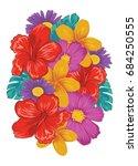 bunch of tropical flowers  | Shutterstock .eps vector #684250555