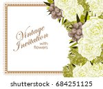 invitation with floral... | Shutterstock . vector #684251125
