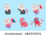 old peopel with heart attack on ... | Shutterstock .eps vector #684254341