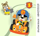 animals racing car competition  ... | Shutterstock .eps vector #684255319