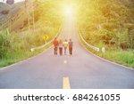 friends walking together on...   Shutterstock . vector #684261055