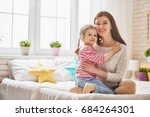 mom and her daughter child girl ... | Shutterstock . vector #684264301
