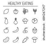 set of healthy eating icons in... | Shutterstock .eps vector #684267247