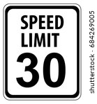 speed limit 30 mph sign... | Shutterstock .eps vector #684269005