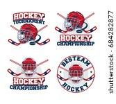 set of ice hockey badge  logo ... | Shutterstock .eps vector #684282877