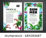 tropical palm leaves background.... | Shutterstock .eps vector #684283687