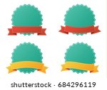 set of blank badge vector with... | Shutterstock .eps vector #684296119