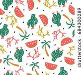 seamless vector pattern summer...   Shutterstock .eps vector #684300289