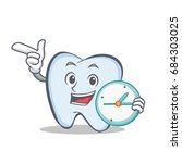 tooth character cartoon style... | Shutterstock .eps vector #684303025