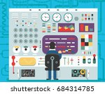 technology control panel... | Shutterstock .eps vector #684314785