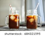 mason jars with cold brew... | Shutterstock . vector #684321595