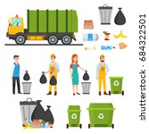 waste recycling icons set.... | Shutterstock .eps vector #684322501