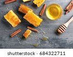 honeycombs  cinnamon  dipper... | Shutterstock . vector #684322711