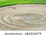 bunker with sand and putter on...   Shutterstock . vector #684324679