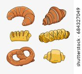 pastry  collection of baked...   Shutterstock .eps vector #684327049
