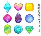 different gemstones. brilliants ... | Shutterstock .eps vector #684337087