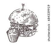 burger with sauce. hand drawn... | Shutterstock .eps vector #684339919