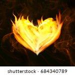 heart of fire on black...   Shutterstock . vector #684340789