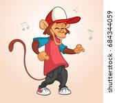 cool monkey rapper character in ... | Shutterstock .eps vector #684344059