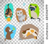 Stock vector vector cute cats illustration set isolated on transparent background 684346999