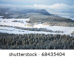 Winter Table Mountain range-  landscape near small, picturesque Pasterka village in Poland. Famous tourist attraction. One of the oldest mountains in Europe. Formations caused by karst phenomena. - stock photo