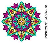 flower mandala. vintage... | Shutterstock .eps vector #684363205