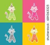 cute and fun cat vector...   Shutterstock .eps vector #684363325