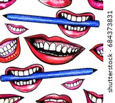 seamless pattern with woman... | Shutterstock . vector #684373831