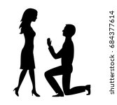 black silhouette man and woman. ... | Shutterstock .eps vector #684377614