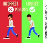 correct incorrect postures | Shutterstock .eps vector #684384277