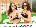 two beautiful women enjoying... | Shutterstock . vector #684385969