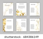set of white and gold flyers....   Shutterstock .eps vector #684386149