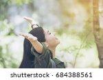 young woman traveler resting... | Shutterstock . vector #684388561