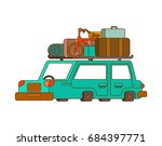 car for weekend outline style.... | Shutterstock .eps vector #684397771