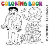 coloring book frankenstein... | Shutterstock .eps vector #684403075