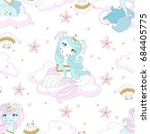 seamless pattern with cute...   Shutterstock .eps vector #684405775
