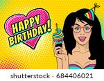 sexy woman in glasses and... | Shutterstock .eps vector #684406021