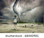 Boy And Approaching Tornado ...