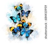 watercolor blue butterflies... | Shutterstock . vector #684410959